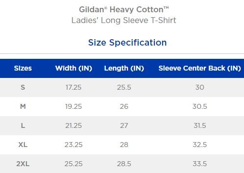 Gildan Color Chart 2020.Ladies Cotton Long Sleeve Tee W Rally Screen Print