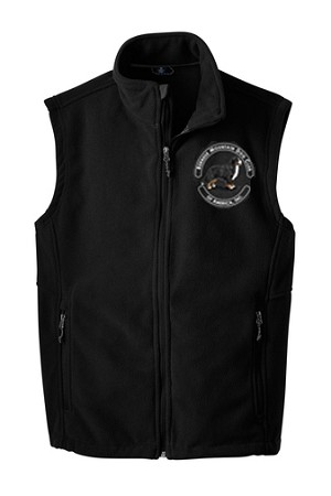 Unisex Fleece Vest features the updated BMDCA logo beautifully embroidered on the left chest (see close up image for detail). Available in Black in S - 3XL. See Description below for additional features.