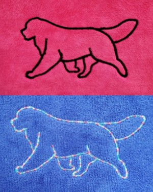 Super-absorbent microfiber towel is back by popular demand!<p/>Available in pink, royal blue, gray, mint green, purple; wedgewood blue or turquoise (pictured separately).<p/>Choose from an embroidered Berner outline, your kennel or dog's name (up to 12 letters; purchase up to 12 additional letters for $5) or Berner outline with personalized embroidery ($5 extra).<p/>See Description below for product details.