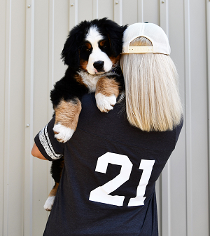 Our wildly popular Short Sleeve Game Tee is now available in three great colors: Charcoal (pictured), Slate or Royal Blue. (Adorable pup sold separately.) Features Berner Basecamp screen-print on the front with large 21 on back.<p/>See Description below for product details.