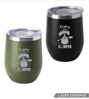 Our 12 oz. insulated double wall Happy Camper Tumbler keeps drinks hot and cold longer for a more enjoyable drinking experience. Features Happy Camper lasered engraved on one side. Available in Black (Army Green temporarily out of stock). See Description below for product details.