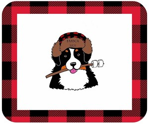 Features Happy Camper with an iconic red buffalo plaid border.<p/>See Description below for product details.